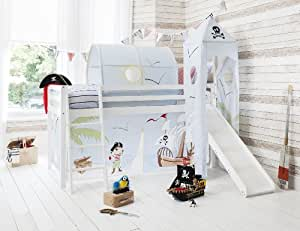 Cabin Bed Mid Sleeper Pirate Pete in White with Tower & Tent 6970-WG-PIRATEPETE