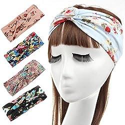 Mujeres elástico Turbante Pañuelo para la cabeza diadema Boho Floal trenzado estilo Criss Cruz pañuelo para la cabeza, diseño de pelo banda accesorios varios colores (Pack de 4unidades)