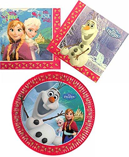 tyset Einweggeschirr 28-teilig Servietten und Pappteller Frozen die Eiskönigin Anna und Elsa mit Olaf Partydekoration ()