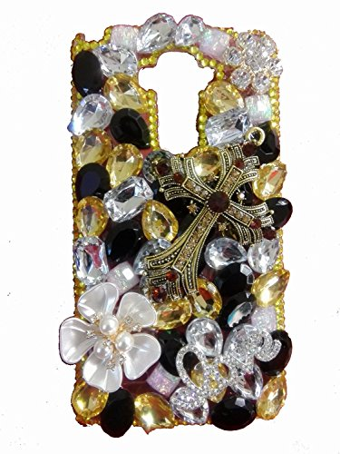 lu2000 [Schwarz Pearl Serie] Strass Jesus Christus Kreuz - Bibel/Christliches Symbol Schutzhülle für Samsung Galaxy S6 Edge g9250 Full Diamond Sparkle Bedazzled Edelsteinbesetztes Steine Trim Diamond Trim