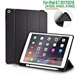 #8: Oaky Ipad 9.7 Inch 2018 6Th Generation Case With Pencil Holder Shockproof Lightweight Soft Tpu Folio Smart Back Cover- Black