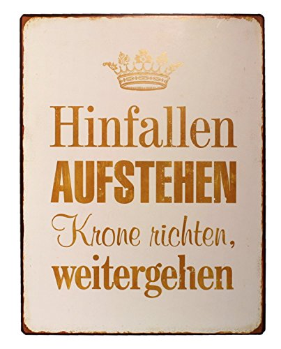 """Lafinesse - Schild - Blechschild - Metallschild - """"Hinfallen aufstehen Krone richten, weitergehen."""" Vintage Look 26 x 35 cm"""