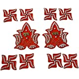 Anaya Industries Acrylic Swastik N Shubh Labh Rangoli (10 Cm X 1 Cm X 10 Cm, Red, Set Of 10)