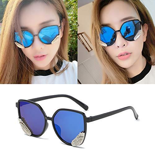 Occhiali da sole occhiali da sole ladies donna cappuccio di usura oversize occhiali classici designer occhiali da sole stile di moda scatola nera fette blu scuro (panno sacchetto)