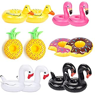 ANGTUO 12 PCS Float Drink Holders Flamingo Swan Inflatable Drink Cup Float Boats Swimming Pool Bath Toy for Pool Party and Water Fun