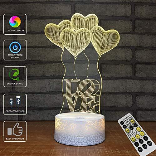 (3D Illusion Lampe, LED Optische Täuschung Multi-Color-Nachtlicht, Fernbedienung USB Lade Kleine Tischlampe, Halloween Weihnachten)