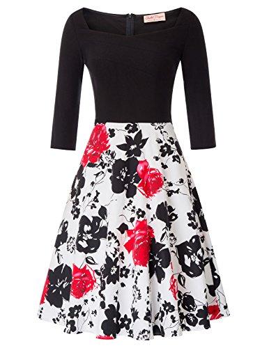Belle Poque Rockabilly Kleid Casual Petticoat Kleid Hochzeitskleid Knielang XL BP747-3
