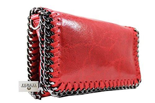 8d5bd307e1 FERETI sac à main Rouge Pochette cuir bandoulière pour femme chaîne