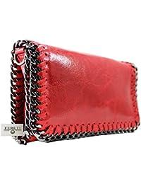 FERETI bolso Rojo de cuero bandolera con cadena