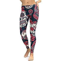 Cebbay Pantalones Yoga Mujeres Leggins de Fitness para Mujer Liquidación Pantalones Chandal Deportivos con Estampado de Esqueleto Calaveras Mallas Ropa Running (Rojo, Large)