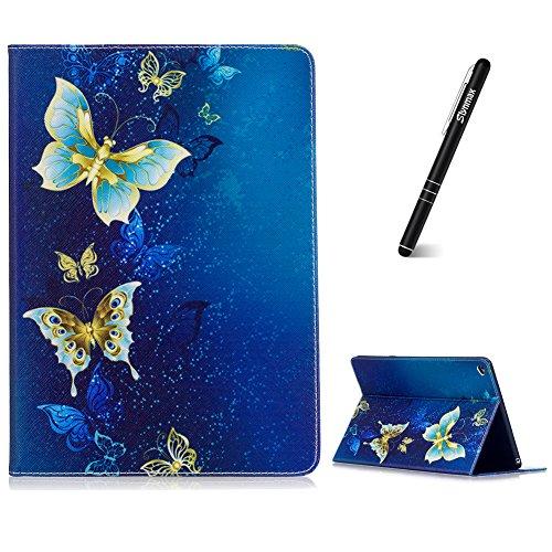 Slynmax iPad Air 2 Hülle Superleicht Schutzhülle Smart Case Cover Tasche Golden Schmetterling Brieftasche Ledertasche Bookstyle Flip Case Magnet Magnetverschluss Standfunktion