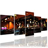 Bilderdepot24 Kunstdruck - Bar - Bild auf Leinwand - 200x80 cm 5 teilig - Leinwandbilder - Bilder als Leinwanddruck - Wandbild Essen & Trinken - Nachtleben - stilvolle Hotelbar