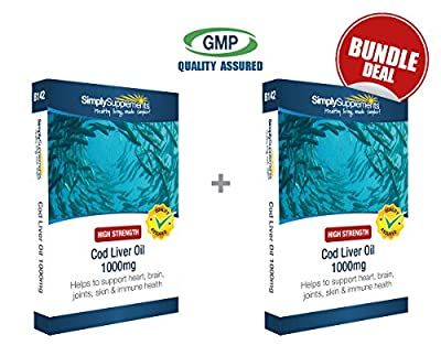 Simply Supplements Cod Liver Oil Bundle Deal | 240 Capsules in total (120+120) | Pharmaceutical Grade | 100% money back guarantee | Manufactured in the UK by Simply Supplements