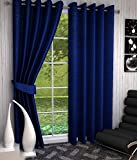 #6: Home Pictures Crush Plain Navy Blue Polyester Long Door- 4x9 Feet Curtains ( Pack of 2 )