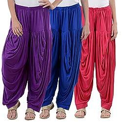 NumBrave Purple,Blue,Pink Viscose Dhoti Salwar Combo Of 3