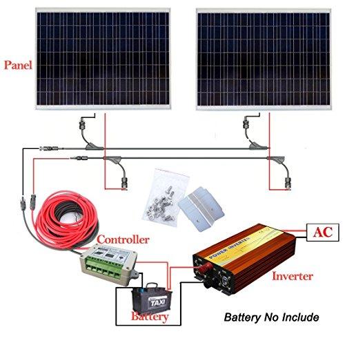 ECOWORTHY Off Grid Tie 360Watt Solar Panel System Kit: 2x 180W PV SOLAR PANEL + 1KW Pure Sine Off Grid Wechselrichter + 15A Solarladeregler + Z Style MOUNTING KIT + Y MC4Solar Stecker und Kabel (Pv Solar Grid Tie)