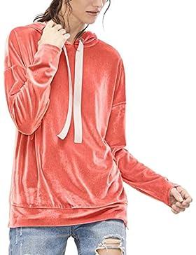 HARRYSTORE Moda Mujer Camiseta de manga larga Sudadera con capucha de terciopelo con capucha Casual Tops