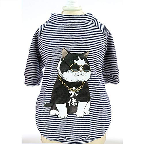 Vest Regenjacken Jumpsuit Shirt Cartoon Haustier Sommer Kostüme Cool Captain Printed Puppy Doggy Weste Black Cat Boss M Slim fit Weiches Large (Black Cat Kostüm Babys)