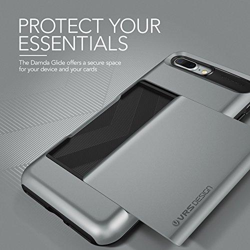 Coque iPhone 7 Plus / 8 Plus, VRS Design [Damda Glide][Argent] - [Porte coulissante semi-automatique][Housse de Protection][Fente pour Carte][Anti Scratch Etui][Anti Chocs Case] Pour Apple iPhone 7 Pl Gris Foncé