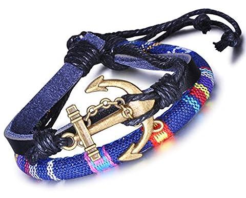 Unendlich U Anker Bunt Damen Verstellbar Armband Armreif Geflochten Leder Legierung Wachs Schnur Multilayer Armschmuck(1 Stück)