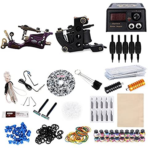 SKM Kits de Tatuaje Completo Complete 2 Motor Máquina Rotativo Tatuaje 20 Colores Tinta de Sistema de Alimentación de Tatuaje para Cuerpo de Maquillaje