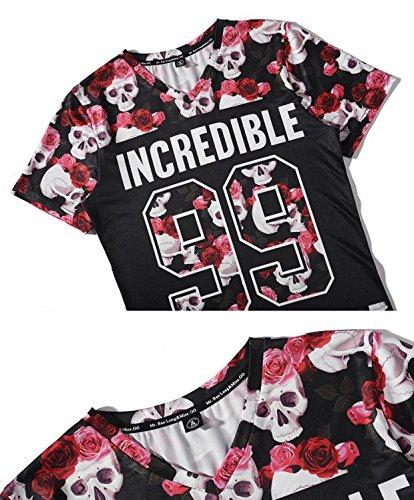 Yonbii Sommer-neuer Hiphop-heißer reizvoller Dame-Mann-Oberseiten-dunkler Blume 3D T-Shirts Mens-seitlicher Reißverschluss ringsum Rosa-1