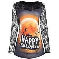 monrose Halloween-Kostüm-Spitze Kürbis-Druck Halloween Mantel T-Shirt-Halloween Kostüm Damen Kapuzenpullover Hoodie Sweatshirt Halloween Kürbis Print Langarm Sweatshirt Pullover