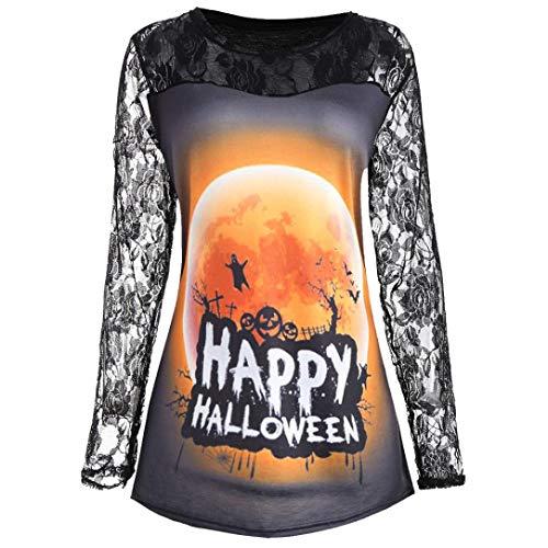 monrose Halloween-Kostüm-Spitze Kürbis-Druck Halloween Mantel T-Shirt-Halloween Kostüm Damen Kapuzenpullover Hoodie Sweatshirt Halloween Kürbis Print Langarm Sweatshirt Pullover(Schwarz,L)