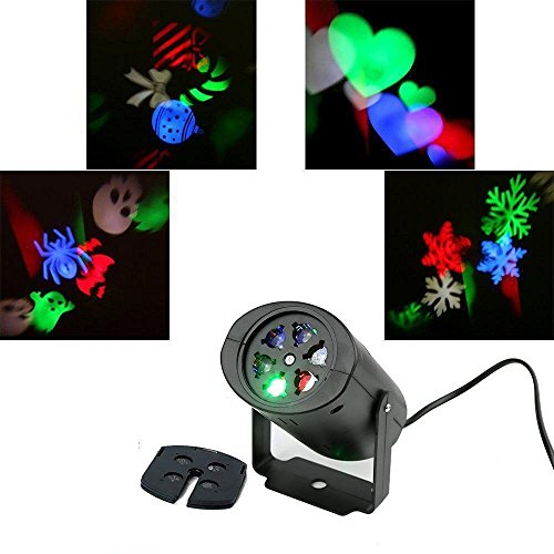 Projektor Lampe Spotbeleuchtung,KINGCOO Multi 4 PCS umschaltbares Muster Objektiv für Weihnachten Halloween Hochzeit Party,Nachtlicht Lampe