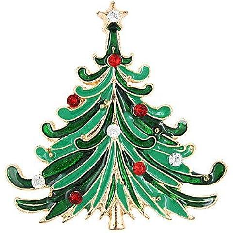 OUYANG albero di Natale spilla coreano di alta qualità accessori diamante signora collare regalo di natale , green-one size , green-one size