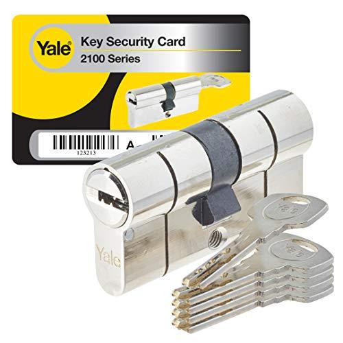 Yale YC2100 - Cylindre de Serrure Débrayable 30x30 mm pour Porte Extérieure/Entrée, 10 Goupilles, 5 Clés, Nickelé