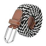 Rera Unisex Herren Damen Elastischer Stoffgürtel Geflochtener Stretchgürtel Dehnbarer Gürtel mit Metallschnalle in vielen Mustern