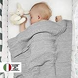 Twosteps Neugeborene decken gemischte Wolle Merino - Winter warm geh�kelte Mesh weiche Wicklung elegant - Krankenhaus Krippe Ovetto Nacelle Kinderwagen Kinderwagen 85x85 Universal Col.Grigio