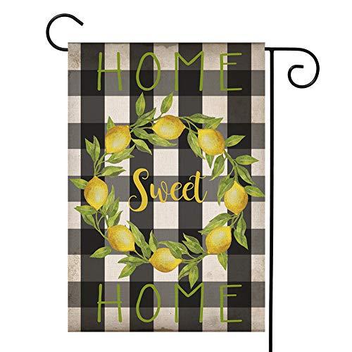 YOENYY Home Sweet Home Lemon Kranz Garten Flagge klein Buffalo Karo Bauernhaus Sommer Sackleine vertikal doppelseitig Yard Dekoration 31,8 x 45,7 cm (Winter-kranz Sackleinen)