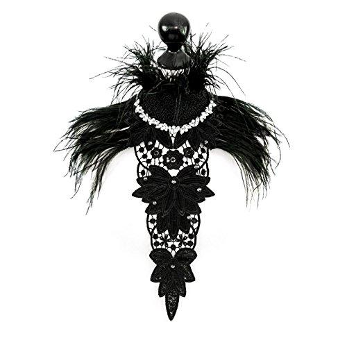 SiaLinda: Brustschmuck Joelle III, schwarz, mit Spitzen, Federn und Bergkristall (Sub Und Dom Kostüm)