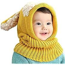 Gorro-bufanda de invierno infantil, de punto de lana, diseño de buzo con orejeras, unisex, cálido calentador de cuello, ideal como regalo de Navidad para niños de 6-36meses, Infantil, amarillo, talla única