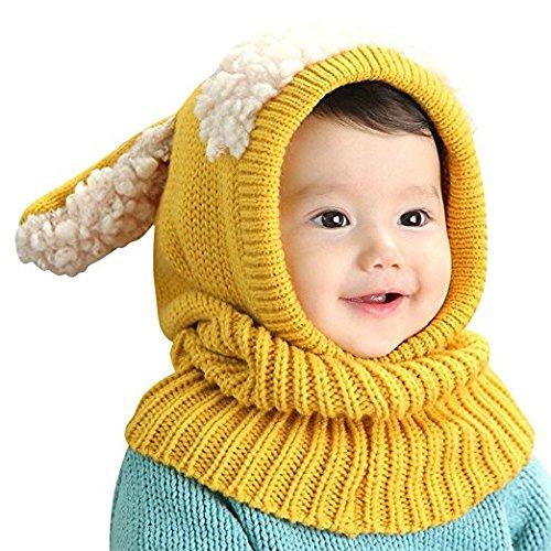 Bambine Bambini Cappello invernale sciarpa set Carina cappuccio caldo sciarpe Scaldacollo con orecchie neve berretto a maglia Lana Berretto con paraorecchie regalo di natale per bambini 6-36mesi, Bambino, Yellow, Taglia unica