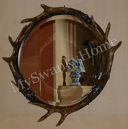 Ranch Lodge (Rustic Round Antler Wall Mirror Ranch Lodge Decor by Home Decor Source)