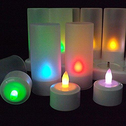 TurnRaise 6 Velas de LED, LED Velas Recargables para Patio, Jardines, al Aire Libre, Bodas, Fiestas (6pcs-Multi