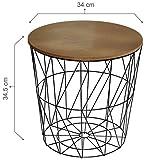 CALUTEA Moderner Beistelltisch Rund/Drahtkorb / Metall Schwarz/Holz Design Braun
