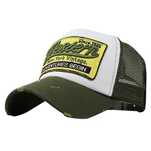 gorras beisbol, Sannysis Gorra para hombre mujer Sombreros de verano gorras de camionero de Hip Hop Impresión bordada, talla única (Verde)