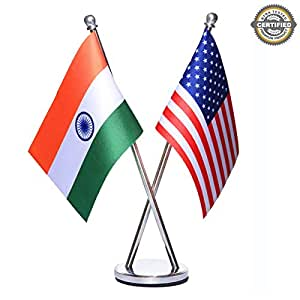 India + USA National Miniature Criss-Cross Table Flags with an Elegant Stainless Steel Base