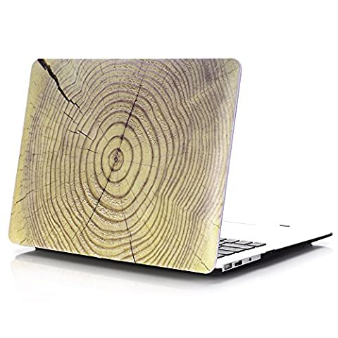 Macbook Air 11 Hülle, L2W Macbook Air 11,6 Zoll Hard Shell Holz Textur Muster Gummi Beschichtet Schutz für MacBook Air 11 Zoll (Modelle: A1370 und A1465)(Holz Textur Muster Design 3 MW-15)