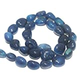 #4: Beadsnfashion Jewellery Making Tumbled Dark Blue Onyx Stone Beads 16-10 mm 1 String Pack of 16 Inches