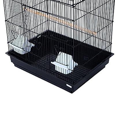 PawHut Large Metal Bird Cage for Parrot Parakeet Macaw Pet Supply Black 47.5L x 36W x 91H (cm) 5