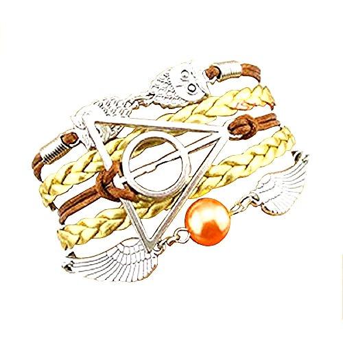 Oro - Marrón Pulsera de amistad Harry Potter Símbolo del triángulo y del círculo del búho y la idea Ali regalo Mujer Hombre