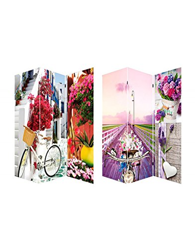 Home Line Biombo Separador de ambientes, Bicycle and Flowers, Provenza