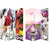 Biombo Bicycle and Flowers, fotoimpresión sobre lienzo reforzado, montado sobre bastidores de madera,