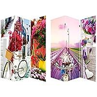 Home Line Biombo Bicycle and Flowers, fotoimpresión para decoración Provenzal, Sobre Lienzo Reforzado, montado Sobre bastidores de Madera, - Muebles de Dormitorio precios