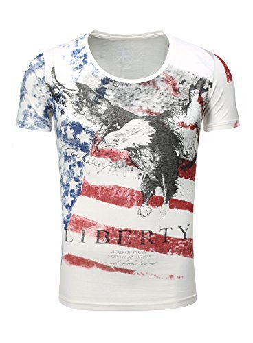 Akito Tanaka T-Shirt uomo Aquila America USA Bandiera Basso Girocollo Scollatura - bianco, Medium